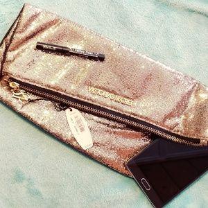 NWT victoria secret gold glitter clutch & mirror